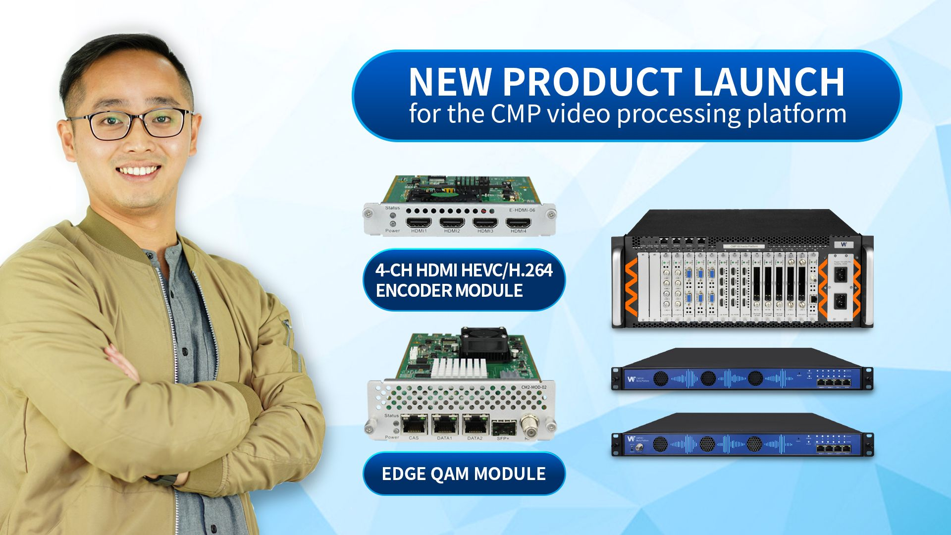 New Product Launch | 4-CH HDMI H.264/H.265 Encoder Module and Edge QAM Module for CMP Video Processing Platform